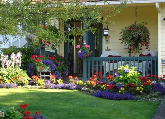 Flower garden in front of the house